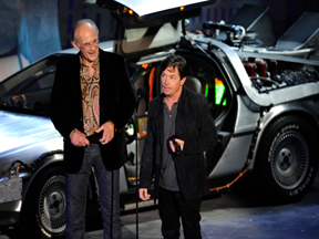 Micael Jo Fox and Christopher Lloyd with the BTTF Car DeLorean Time Machine UK